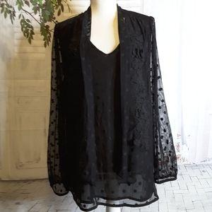 Entro black floral polka dot sheer lace blouse